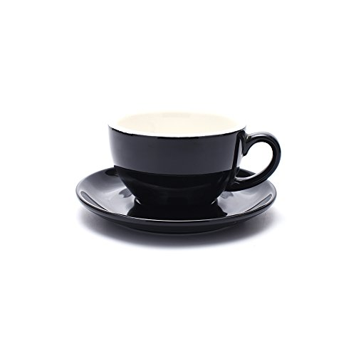 (Coffeezone Free Pour Coffee Cup and Saucer, Small Cappuccino and Double Espresso, Ceramic Coffee Cups for Coffee Shop and Barista (Glossy Black, 5 oz))