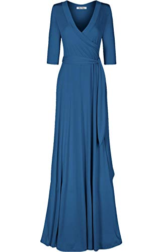 - Bon Rosy Women's MadeInUSA 3/4 Sleeve Deep V-Neck Maxi Faux Wrap Dress Summer Wedding Guest Party Bridal Baby Shower Maternity Nursing Jade L