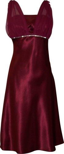Satin Chiffon Prom Dress Holiday Bridesmaid Crystals Knee-Length