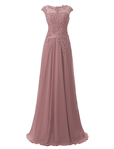 A Long dusty Pink Prom Beading line Dresses Bridesmaid Chiffon Z Sarahbridal Women's Gowns w5AqPct