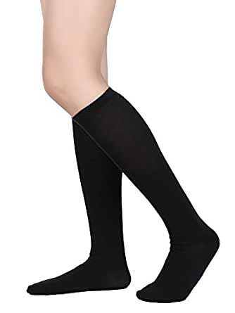 Satinior Women Knee High Socks Soft Boot Socks Cosplay Socks for Party, Halloween, School, One Size (Black, 1 Pack)
