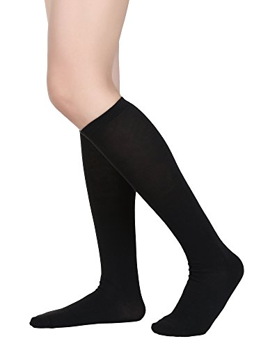 (Satinior Women Knee High Socks Soft Boot Socks Cosplay Socks for Party, Halloween, School, One Size (Black, 1 Pack))