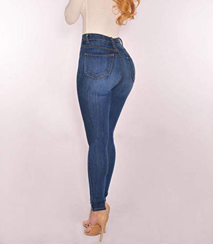 Taille Jeans Slim Skinny Bouton Blue Extensible Haute Fit Denim q66wZd
