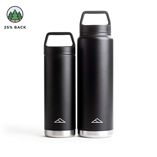 Tillak Metolius (18oz or 32oz) Stainless Steel Bottle, Double Wall, Vacuum Insulated, Leak Proof, Sweat Proof, with Wide Mouth, Recycled, BPA Free Cap