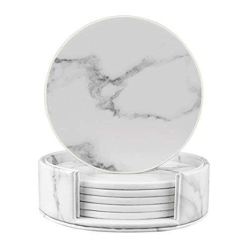(Coasters for Drinks, Round Marble Leather Coasters with Holder Set of 6 Protect Your Furniture (White Marble, Round))