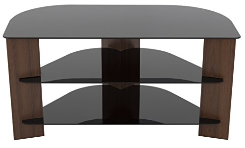 AVF FS900VARWB-A Varano Corner TV Stand, Walnut and Black Glass