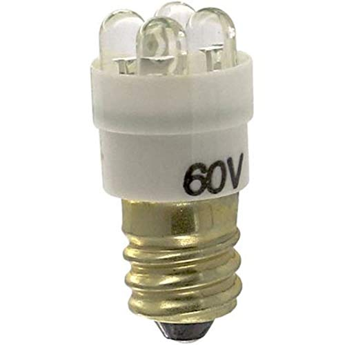 (Lamp; LED; S-6; Screw; White; 60V; 25mA; 1200mcd; 45deg; 3S3 and 6S6 Incandescent Lamps, Pack of)