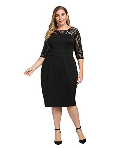 Chicwe Women's Plus Size Stretch Sheath Dress with Floral Lace Top – Knee Length Work Casual Party Cocktail Dress 1X Black