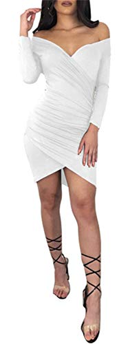Vestito Abito A Fondo Aderente Lunghe Bodycon Fasciante Arricciato Irregolare Asimmetrico Mini Bianco Maniche Scollo Scoperte Increspato Profondo V Spalle dCerWxBo