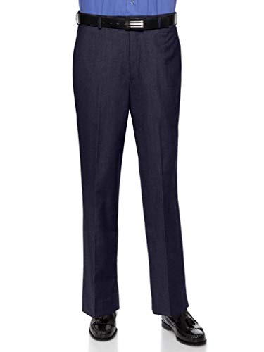 RGM Dress Pants for Men Slim fit Modern Flat-Front - Formal Business Wrinkle Free No Iron Navy 29Wx32L