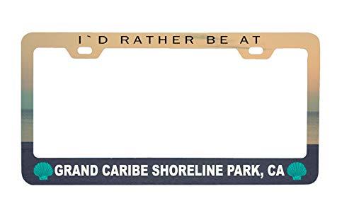 R and R Imports Grand Caribe Shoreline Park California Sea Shell Design Souvenir Metal License Plate Frame