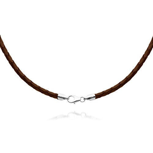 4mm Brown Braided Leather Cord Necklace Choker with Solid 925 Sterling Silver Clasp 16