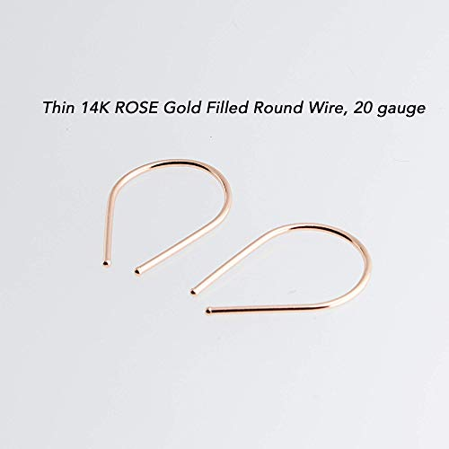 14K Rose Gold Filled Thin Wire 20 Gauge Drop Arc Earrings (20 Gauge Size Horseshoes)