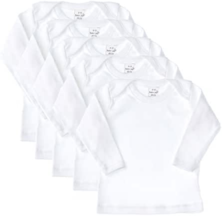 Baby Jay Long Sleeve Undershirt 5 Pack -White Cotton Baby T Shirt, Lap Shoulder
