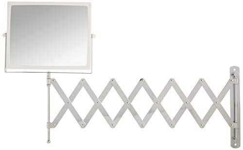 Jerdon J2020C 8.3-Inch Two-Sided Swivel Wall Mount Mirror with 5x Magnification, 30-Inch Extension, Chrome and White…
