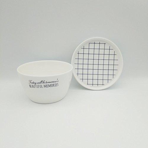 Hand Painted Square Bowl (Porcelain Bowl with Hand Painted Square Grid Line Lid for Oat Porridge Salad Soup)