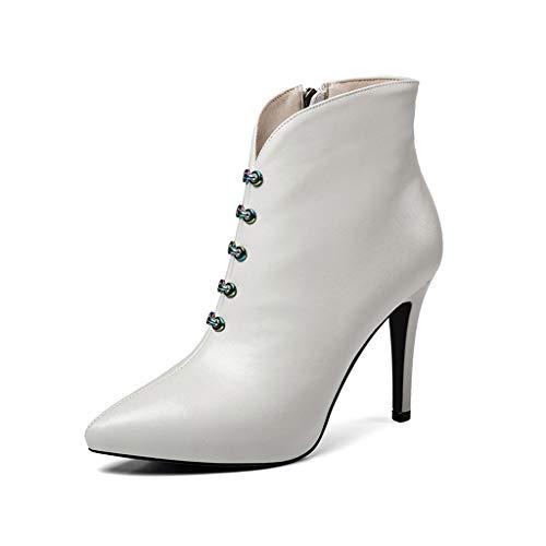 Zapatos Solo Modelos Boots White Aguja Sexy Plus Tacón Cuero E Velvet Martin Marea Con De Negro Altos Invierno Tacones Otoño Nuevos rwfpxr7qg