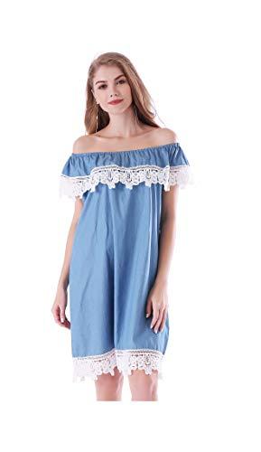 Plus Size Casual Dresses for Women Off Shoulder Lace Trim Loose Denim Dress Holiday (Large, Light Blue) - Lace Trim Denim
