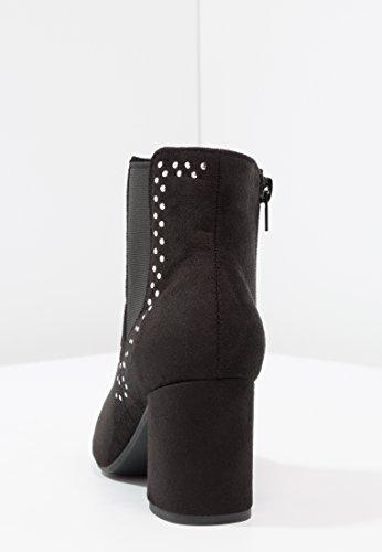 Anna Field Ankle Boots Damen in Taupe & Schwarz - Boots mit Blockabsatz - Chelsea Boots mit Verzierungen - Stiefeletten Elegant Schwarz