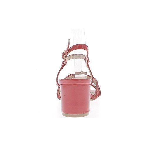 Sandales rouges à gros talon de 6cm fines brides vernies ou strass