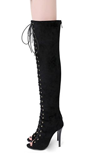 Maybest Womens Thigh High Over The Knee Platform Lace Up Stiletto Heel Boots Back Zipper Black 11 B (M) US