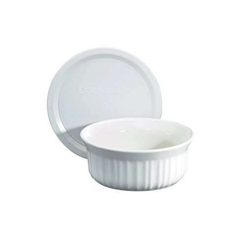 CorningWare French White Pop-Ins 16-Ounce Round Dish with Plastic Cover - Green Round Casserole Dish