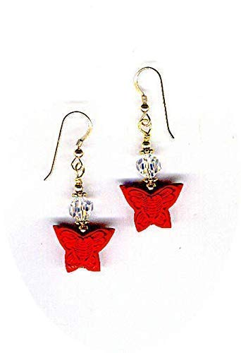 (Red Cinnabar Butterflies and Swarovski Highly Faceted AB Rounds Bead Earrings)