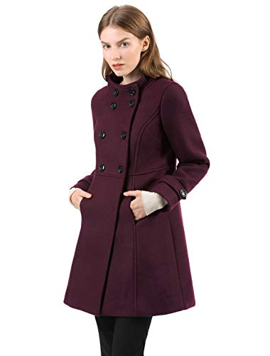 Double Breasted A-line Coat - Allegra K Women's Stand Collar Double Breasted A-Line Winter Outwear Coat L Burgundy