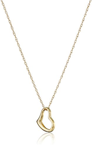 14k Yellow Gold Petite Concave Heart Pendant Necklace, 18