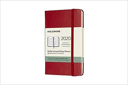 Agenda 2020 Semainier Horizontal Poche Rouge Rigide