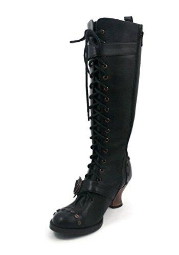 HADES Thundra, Vintage, Retro, Vintage-Stil, PU-Leder, zum Schnüren Knie-Stiefel