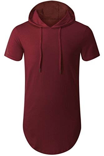 Aiyino Mens Hipster Hip Hop Short/Long Sleeve Longline Pullover Hoodies Shirts (US 3XL, Wine Red) ()