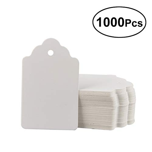 YeahiBaby White Paper Tag Square Flower Head Price Gift Packaging Hanging Labels 1000pcs