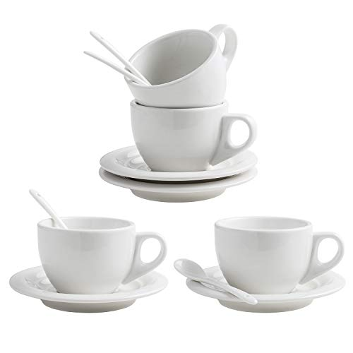 (XUFENG 8oz Cappuccino Cups Set of 4 with Saucer White Porcelain for Latte, Mocha,Cafe with Porcelain)