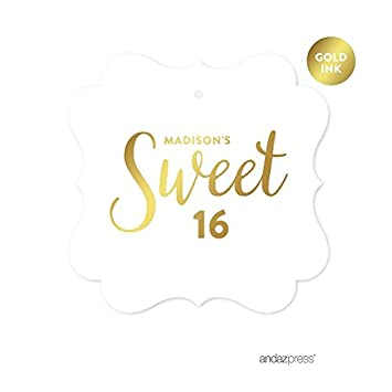 Andaz Press Personalized Fancy Frame Square Birthday Gift Tags Metallic Gold Ink Sweet 16