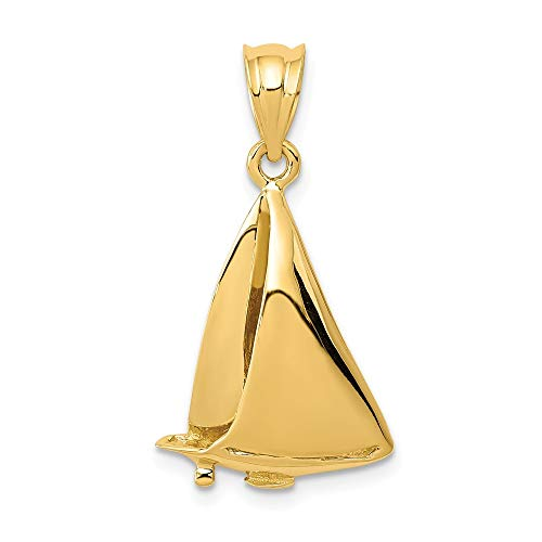 14K Yellow Gold Sailboat Charm Pendant from Roy Rose Jewelry