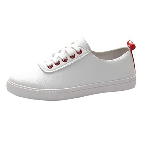 Pelle top Moda Skateboard A Casuale Huatime Donna Scarpe Low Sportive Rosso Scarpa  Da Bianca Piedi Sneakers ... cd8edd465b0