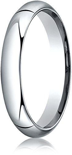 Benchmark 14K White Gold 4mm High Dome Heavy Comfort-Fit Wedding Band Ring , Size 7 ()