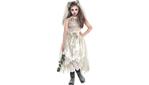 Zombie Bride Dress Halloween Costume for Girls, Extra Large, with Included Accessories, by Amscan