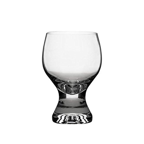 Crystalex 230101-01A, 7.8-Ounce Crystal Gina Wine Glass, Classic Old Fashion Design, Red White Wine Crystal Glasses on Short Stem, Set of 6