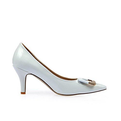 Amoonyfashion Donna Pull Su Vernice Punta A Punta Punte A Punta Stiletto Scarpe-scarpe Bianche
