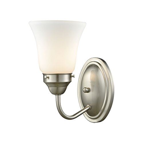 Elk Lighting CN570172 Califon 1-Light for The Bath in Brushed Nickel with White Glass Vanity Wall Sconce ()