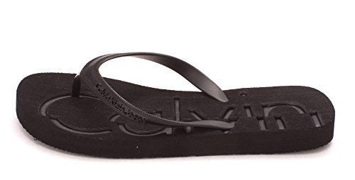 Calvin Klein Womens Piccola Jelly Open Toe Beach, Black/Black, Size 6.0