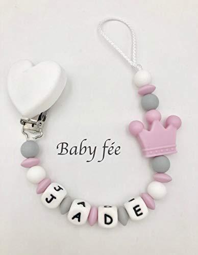 d1b3a995d9ca4 Attache tétine sucette prénom personnalisée 100% silicone bébé fille ou  garçon