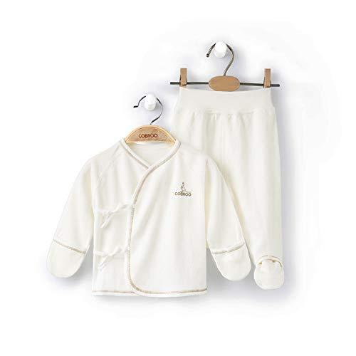 COBROO 100% Organic Cotton Newborn 2-Piece Kimono Tee Pants Set, Long Sleeve Side Snap Shirt and Essential Footed Pants