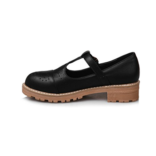 Mfairy Womans Mode T-strap Brogue Chaussures Vintage Mary Jane Chaussures Noir