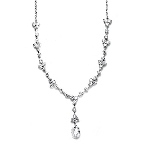 Mariell Cubic Zirconia Wedding Bridal CZ Necklace Pendant with Faceted Swarovski Crystal Drop