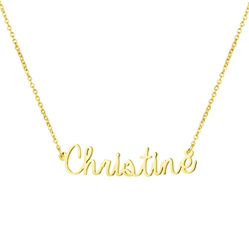 Awegift Personalized Name Necklace 18K Gold Plated New Mom Bridesmaid Gift Jewelry for Christine