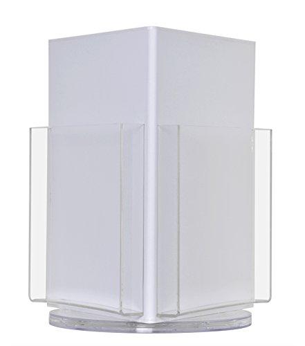 deflect-oamp;reg; Three-Pocket Plastic Countertop Revolving Magazine Display Rack, Clear (3 Pocket Magazine, White) by Deflect-O