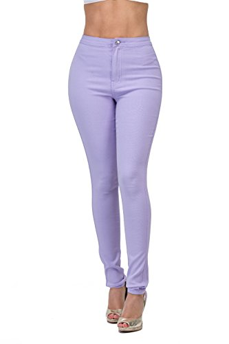 High Rise-Waisted Ladies Stretch Skinny Curvy Women Colored Denim Ripped Jeans Pants for Women (M, Lilac)